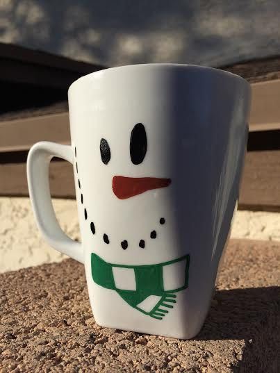 Snowman Mug Oil-Based Sharpie by LilBritainsArt on Etsy