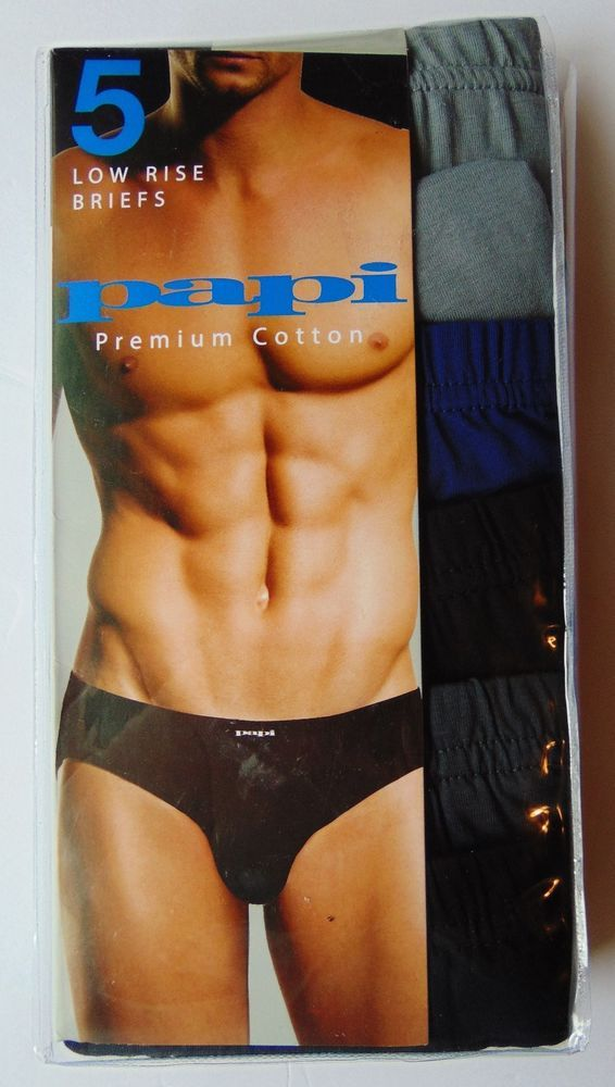 Papi Mens 5 Low Rise Briefs Bikinis Underwear Lot Pairs Pack XLarge Black Gray #papi #BriefBikini