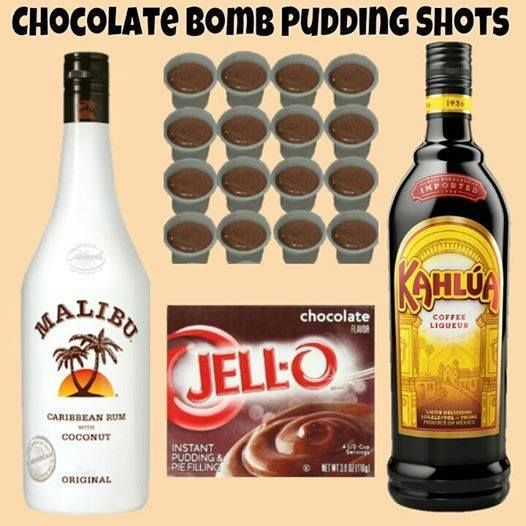 Chocolate Bomb Pudding Shots  Sm Chocolate Instant Pudding ¾ c Kahlua ¾ c Coconut Rum 4oz Cool Whip   Whisk Kahlua and Instant Pudding together until as thick as it will get (1-2 minutes). Once it has thickened, add Liquor and whisk until all lumps and clumps are gone. Once the mixture is nice and smooth again, whisk in Cool Whip -extra creamy.   Fill almost ¾ of a 1oz plastic shot cup with the mixture then cover and place in the freezer. It can take several hours to set. Serve w/tasting…