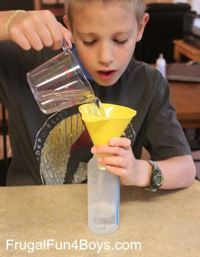 Science Demonstration: Air Takes Up Space. Make water stay IN the funnel! Great way to demonstrate something we cant see.