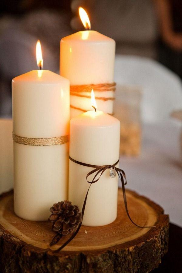 autumn craft ideas stupfkerzen baender wood disc tischdeko