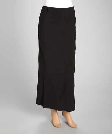 Look what I found on #zulily! Black Pocketed Maxi Skirt - Women & Plus by Wall Street #zulilyfinds