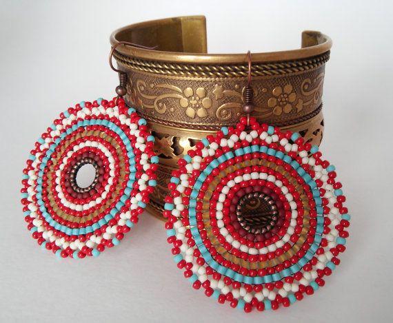 Индия Мандала серьги Красные круглые серьги из от ViktoriaBeads