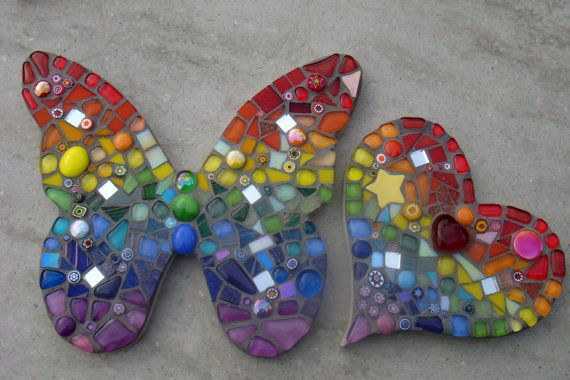Mosaic Rainbow Butterfly Garden Yard Ornament by FunkyMosaicsUK, £42.00