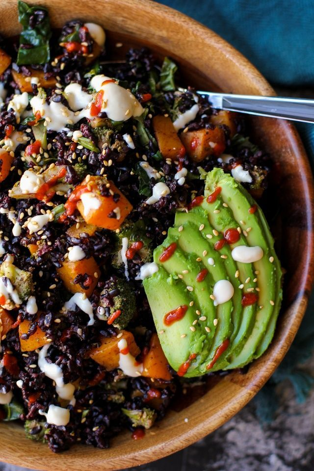 Garam Masala-Spiced Butternut Squash, Broccoli, and Kale with curry wasabi rice and honey cashew sauce | TheRoastedRoot.net #healthy #vegan #dinner #recipe