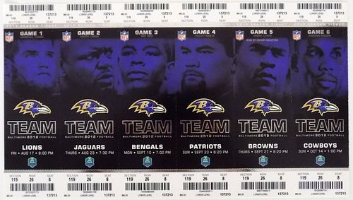 Featured is a complete set of 2012 Baltimore Ravens home season tickets games 1-6. This was the season the Ravens won the Super Bowl, which was also Ray Lewis' final season as a pro.