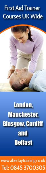 First Aid Trainer accredited courses in London, Manchester, Glasgow, Cardiff and Belfast.  Want to teach first aid then visit www.abertaytraining.co.uk