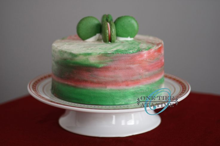 Christmas In July Watercolor Buttercream Cake