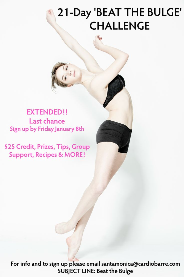 21 DAY BEAT THE BULGE CHALLENGE! Email us at santamonica@cardiobarre.com for more info and to join. Deadline TOMORROW January 8th!