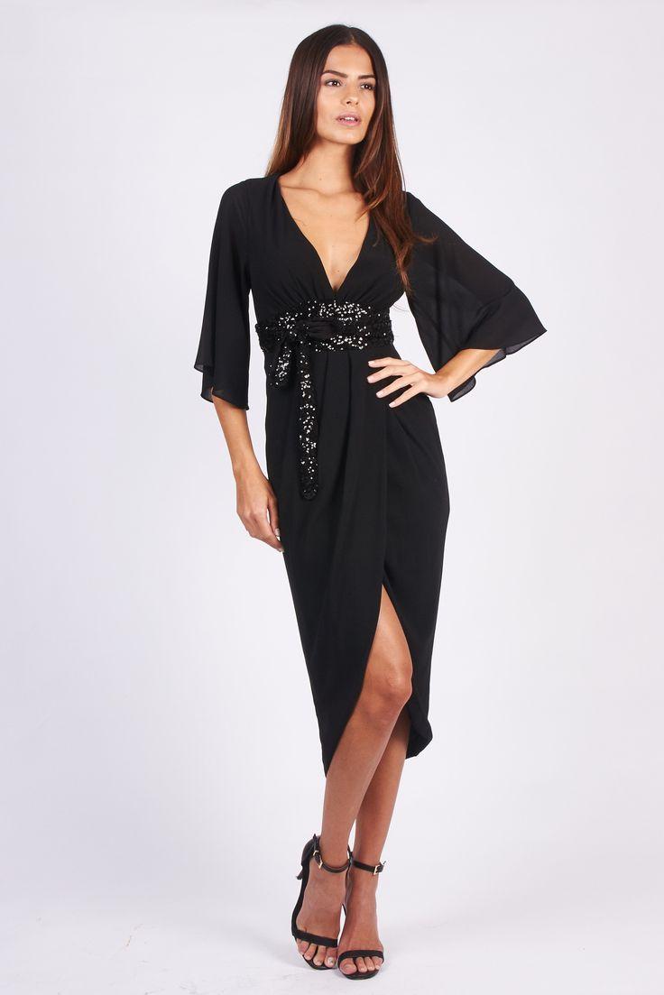 TFNC Deborah Kimono Black Dress