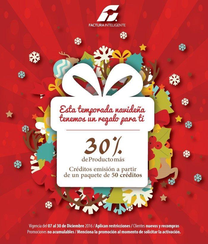 ¡Regalos navideños! 30% de producto adicional en la compra de paquetes mayores a 50 créditos.