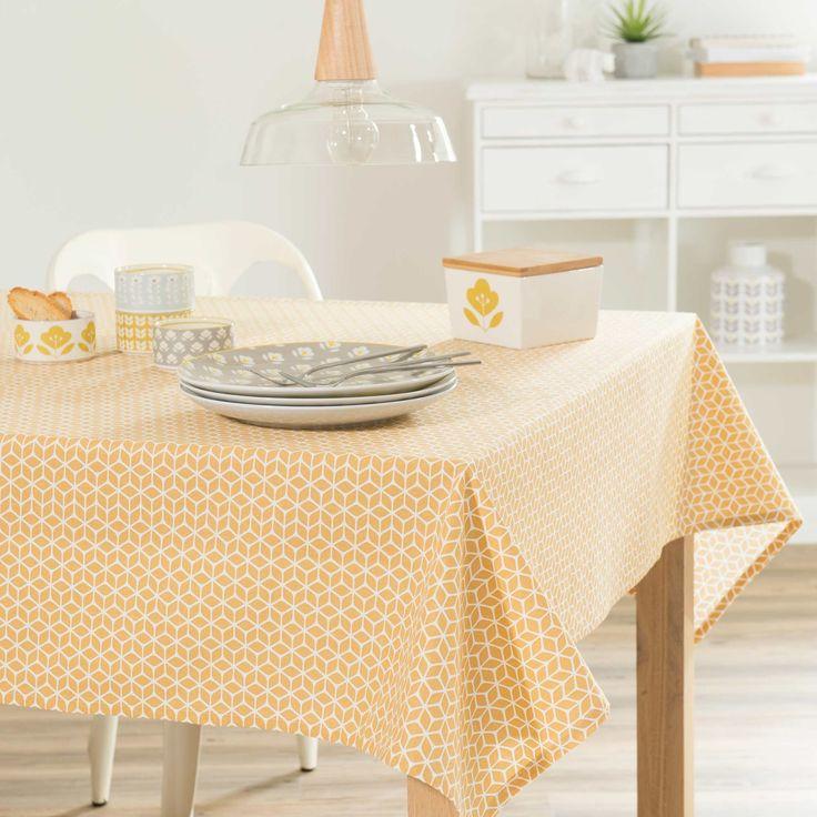 Nappe en coton jaune 150 x 250 cm VINTAGE | Maisons du Monde