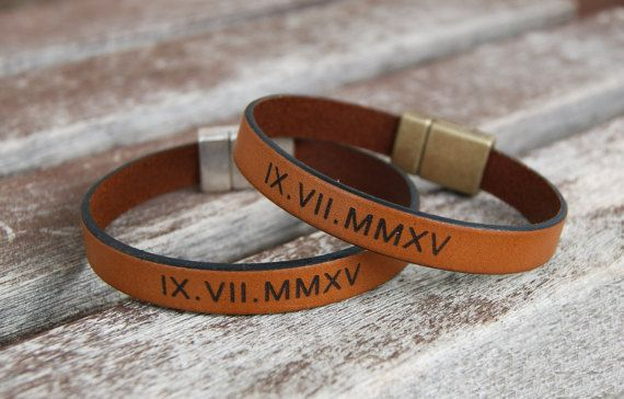 Personalized Roman Numeral Bracelet Leather Bracelet Set of 2 Matching Boyfriend Gift Couples Anniversary Gift Wedding date Bracelet