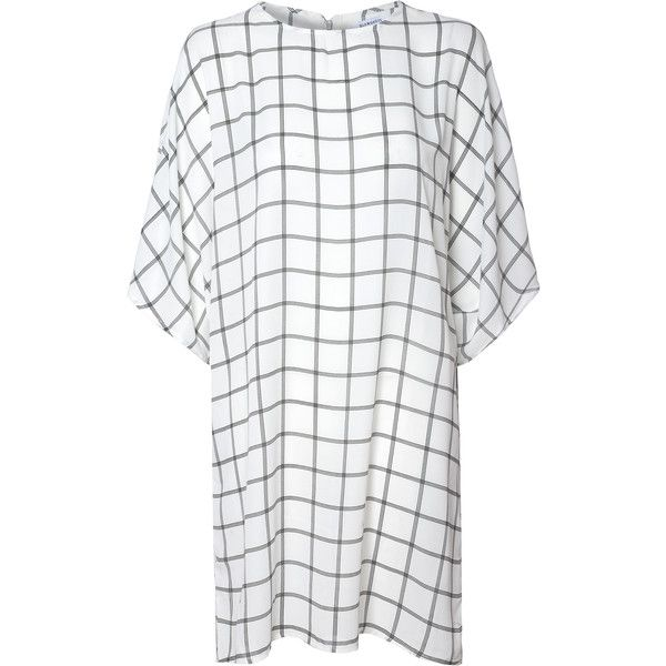 White T-Shirt Shift Dress With Grid Print ($38) ❤ liked on Polyvore featuring dresses, white, loose summer dresses, white shift dress, white tshirt dress, white dress and tee shirt dress