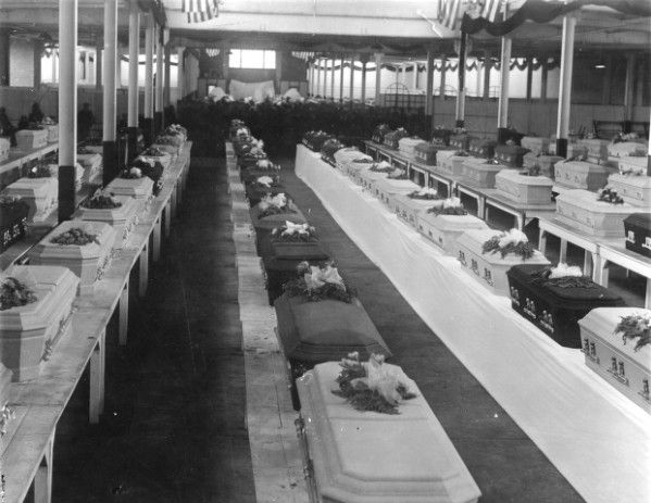 Morgue at the Ohio State Fairgrounds with victims of the Ohio Penitentiary fire, April 21, 1930. The fire killed 322 inmates some of whom were stuck in their cells and injured another 130. This was the worst disaster in American prison history. The prison, which was built in 1834, was notorious for having horrible conditions. At the time of the fire, the prison was at over twice its capacity.