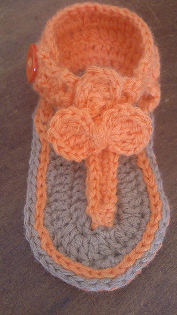 Magnífico Los Patrones De Crochet Libre Para Chanclas Bebé Patrón ...