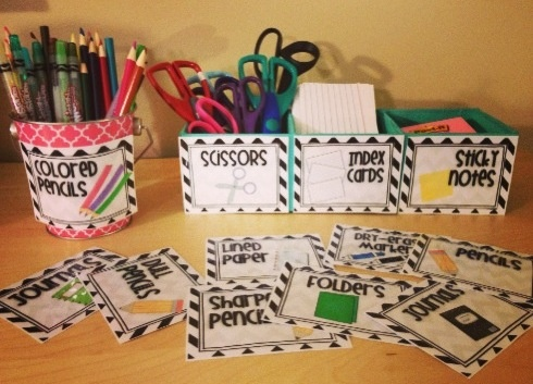 Super cute black and white Chevron School Supply Labels with Pictures! $3 from Elementary Endeavors