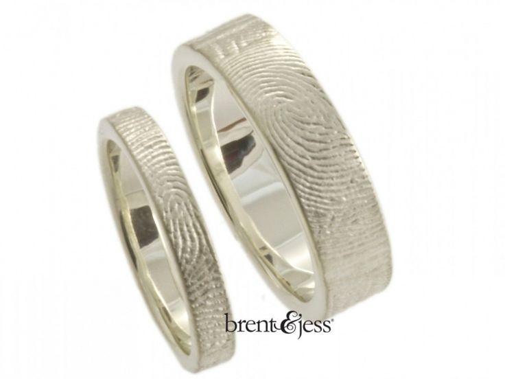 Fingerprint Wedding Band White Gold