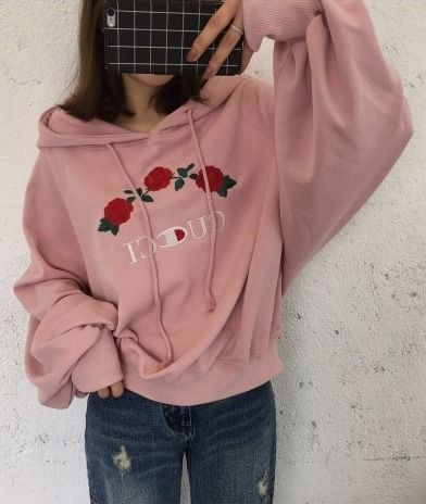 Loose Drawstring Hooded Long Sleeve Embroidery Floral Pattern Hoodie Sweatshirt - Beautifulhalo.com