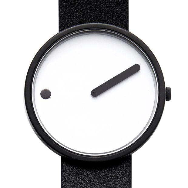 Picto (white/black) watch by Rosendahl. Available at Dezeen Watch Store: www.dezeenwatchstore.com