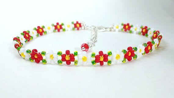 Hand Beaded Dainty Red Bracelet  Flower Bracelet  Boho