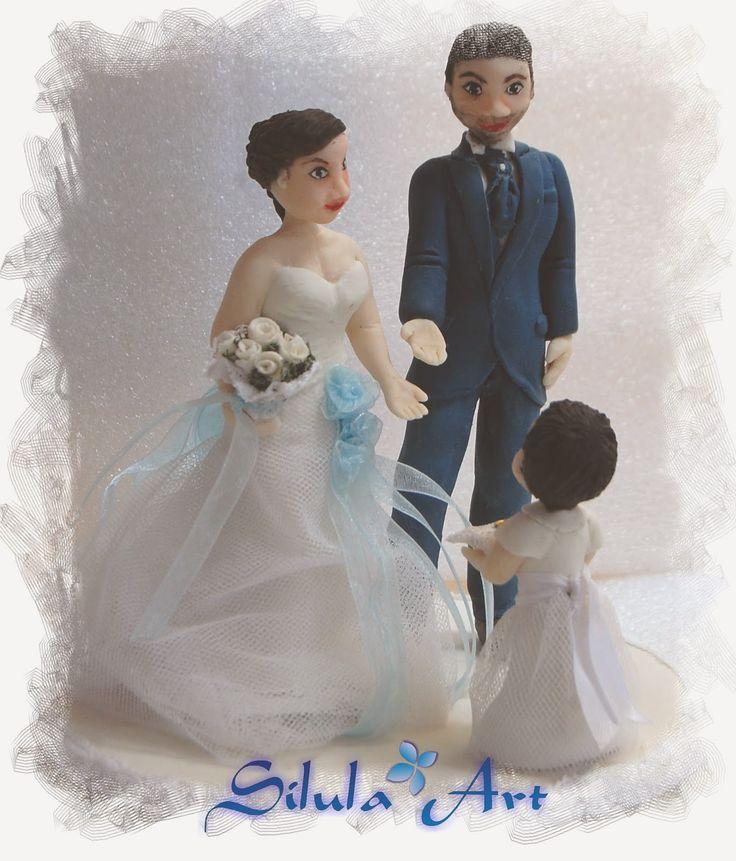 Silula Art: Cake topper sposi con bambina