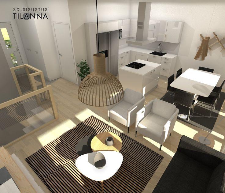 3D- visualisointi ja sisustussuunnittelu uudiskohteeseen/ Modernin rivitalon olohuone, valkovahattu tammiparketti, valkoiset maalatut seinät, musta sohva ja valkoiset nojatuolit, villamatto, secto valaisin, valkoinen korkekiiltoinen keittiö/ Keski-Suomen Rakennuskeskus, rivitalo Hollitaipaleentie 10, ennakkomarkkinointi/ 3D-sisustus Tilanna