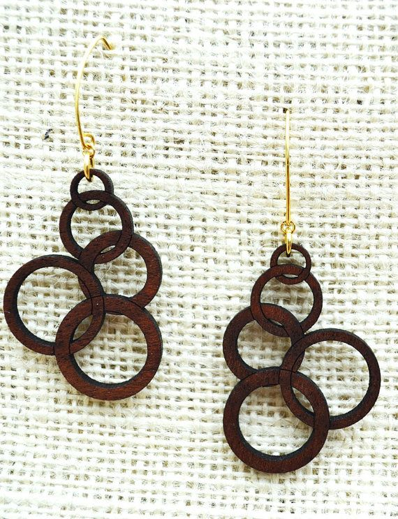 Laser Cut Mahogany Wood Earrings