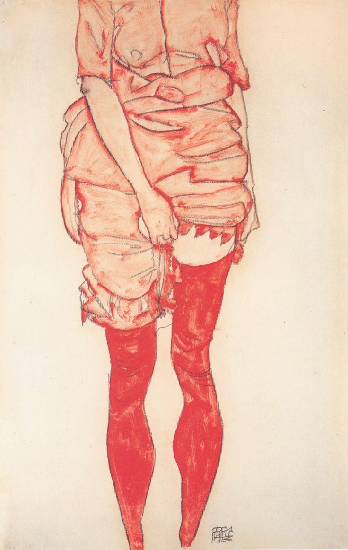 """Egon Schiele """"Standing Woman In Red""""  -->Cuerpo - ROJO"""