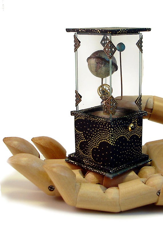 Miniature Standing Globe and Moon by Bo Press Miniatures: Bo Press, Miniatures Globes, Clock, Miniatures Stands, Press Miniatures, Gold Dots, Globes Coppertron, Bi Bo, Stands Globes