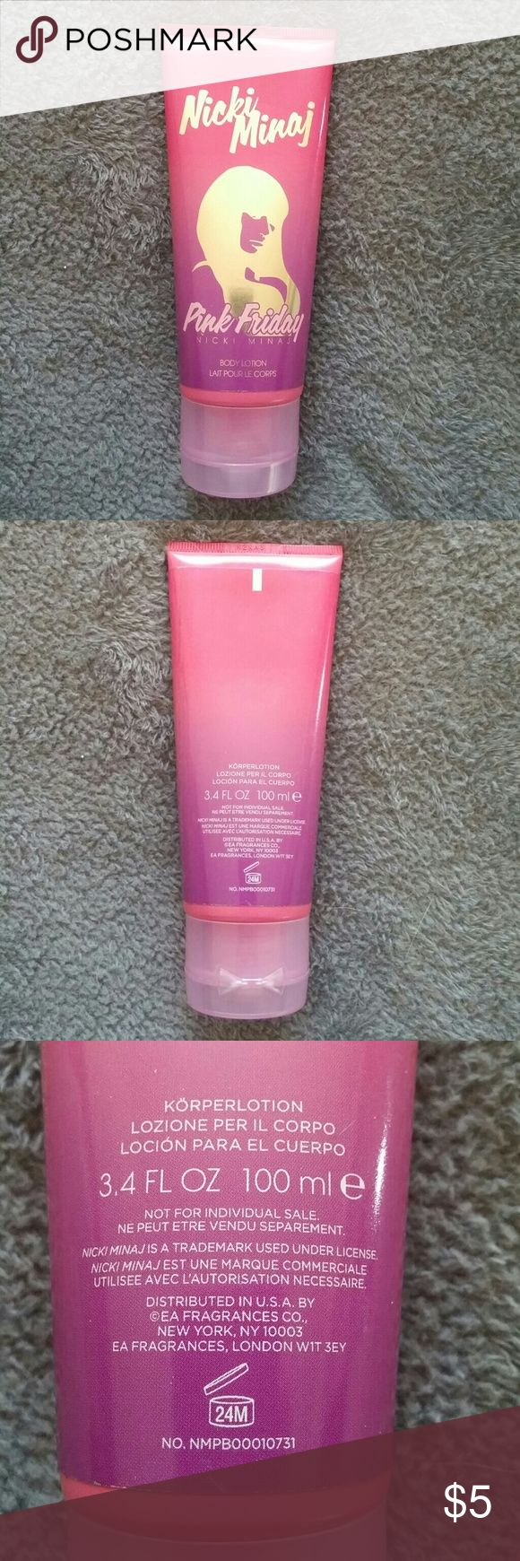 Nicki Minaj Pink Friday Body Lotion This lotion has been used a few times. I can't see how much is left, but feels to be at least halfway full.  This is a used item listing.  This listing comes from a smoke-free/pet friendly home.  NO TRADES--NO HOLDS--NO PAYPAL  ** I AM OPEN TO OFFERS! PLEASE USE THE OFFER BUTTON! **  Your purchase will be wrapped with care and includes a FREE surprise gift!!  Perfect for adding to a bundle! Nicki Minaj Other