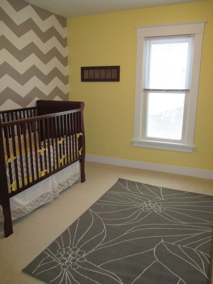 How to Paint a Chevron Wall {tutorial} (*love* the grey and yellow color combo!)