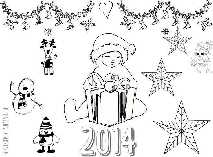 Coloriage | Noël 2014 | Création perso. Format Carte Postale | Classes Maternelles | Ptimatcha