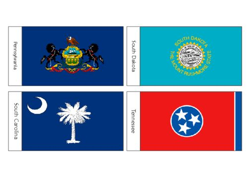 US State Flags Flash Cards SD, SC, PA, TN - KidsPressMagazine.com #USstateflags #freeflashcards #unitedstates #southcarolina #southdakota #pennsylvania #tennessee