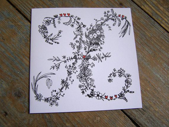 Letter H floral alphabet greetings card pen and ink by quarto17