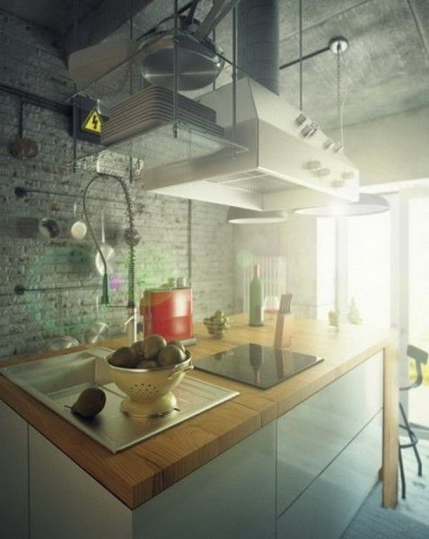 Casual Industrial Kitchen Loft Style
