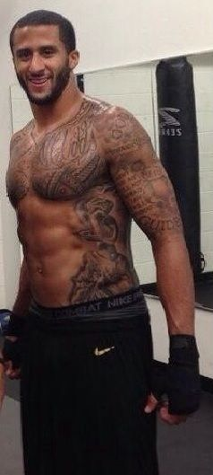 Colin Kaepernick. My guilty pleasure on the 49ers. Back is completely covered in ink too.