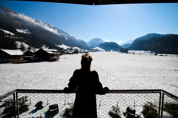 Kuschelhotel Gams Bezau Österreich Schneelandschaft Berge Aussicht Kuschelsuite Romantik hotel Wellnesshotel Reiseblogger