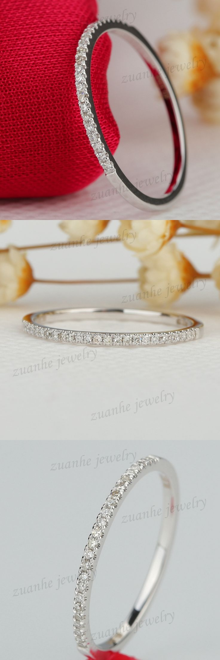 1/10CT Natural Diamond Half Eternity Ring Solid 10k White Gold Women Engagement Wedding Band