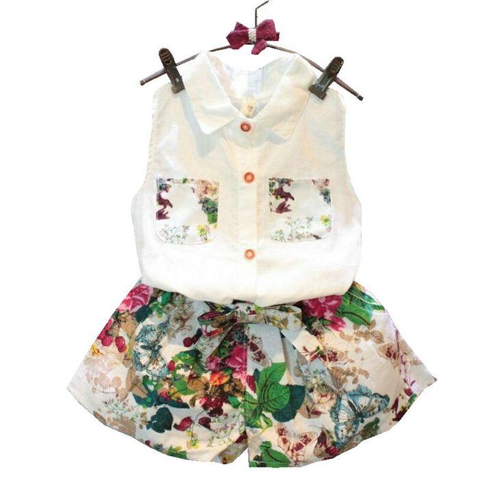 2016 Summer Style Baby Meisjes Kleding Set mouwloze blouse + Floral Pants 2 stuks / set Kids katoenen kleding Set 2-8 Years KF990