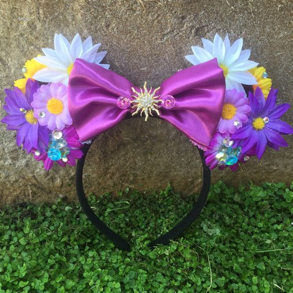 Pre-order Light-up Tangled Rapunzel inspired floral Mouse Ears Flower Crown Headband
