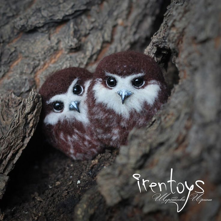 "Felted brooch ""Owlet"".  Size: 4 cm.  Materials: 100% wool, brooch pin, glass beads, plastic.    These kids - are the most famous my work (thanks reddit). I planned to finish them before the start of 2017, but the reality is that they have been done only now. It is therefore I decided to organize an auction for each of them in my Instagram. Well, everyone who asked and ordered them, I'll wait you tomorrow @irentoys :)"