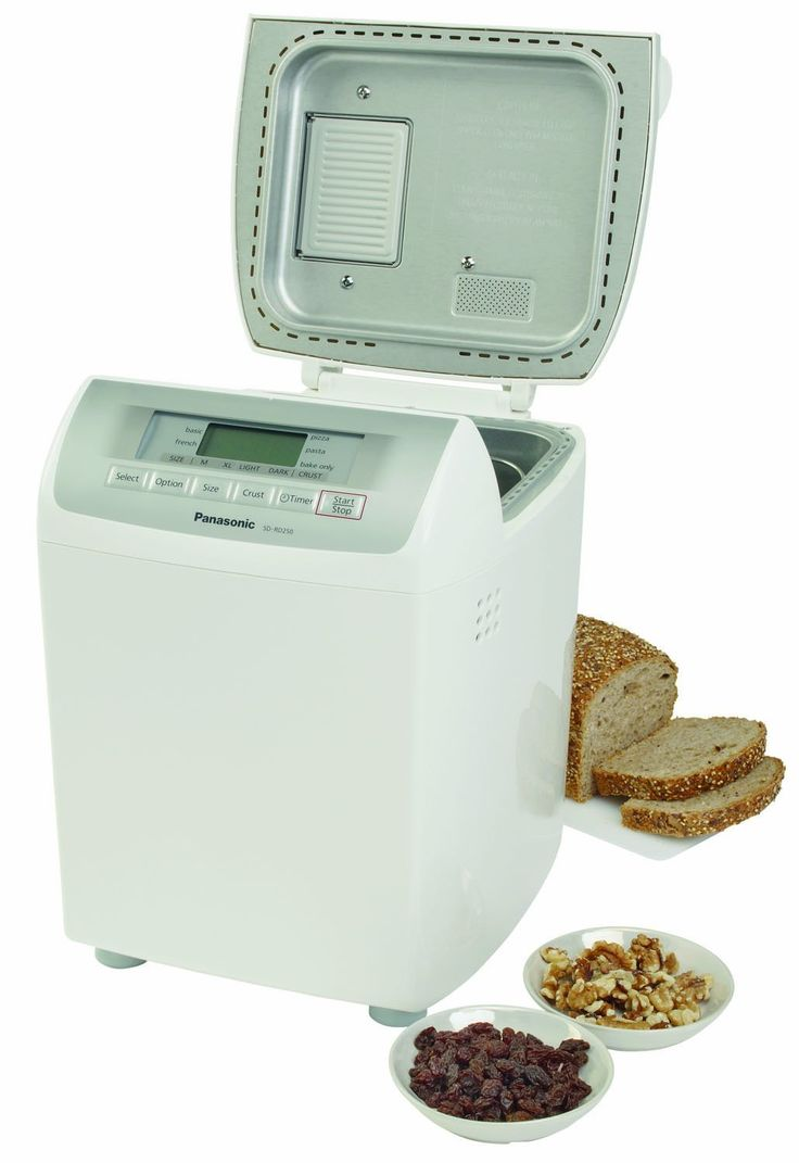 Panasonic SD-RD250 Bread Maker with Automatic Fruit & Nut Dispenser. Mixes, kneads, rises and bakes. Adds raisins, dried fruits, nuts and seeds at the right time.
