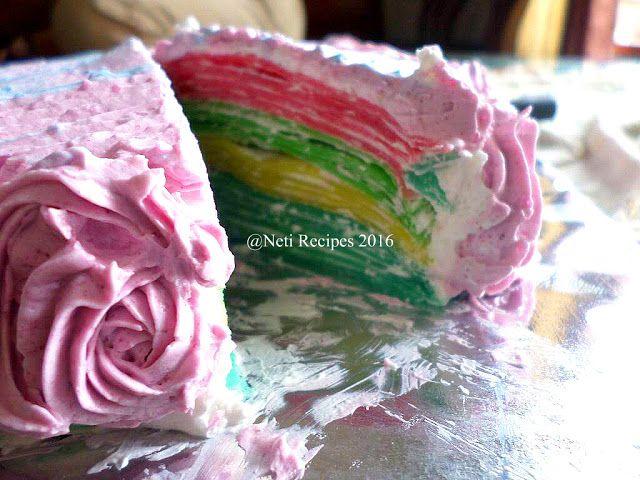 Simple rainbow crepes cake.