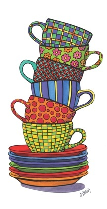 Stacked Cups - Whimsical Art