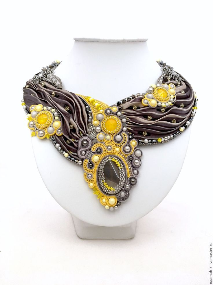 Soutache + shibori necklace   Купить Колье «Солнечное Затмение» - колье ручной работы, сутажное колье, сутажная техника