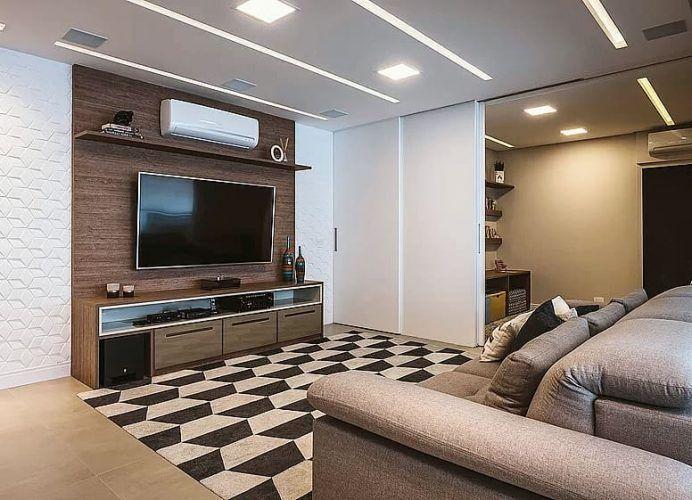 115 Salas de TV Decoradas com Fotos para te Inspirar Interiores - schöne tapeten fürs wohnzimmer