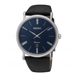 Koop dit Seiko Premier Heren Horloge SKP397P1 horloge online in onze webwinkel.                     Dit is een heren horloge met een quartz uurwerk.                             De kleur van de kast is grijs en de kleur van het uurwerk is blauw.                             De kast is gemaakt van rvs en de band van het horloge van leer.                             Het uurwerk is analoog en er wordt gebruik gemaakt van saffierglas.                                       Wij zijn of...