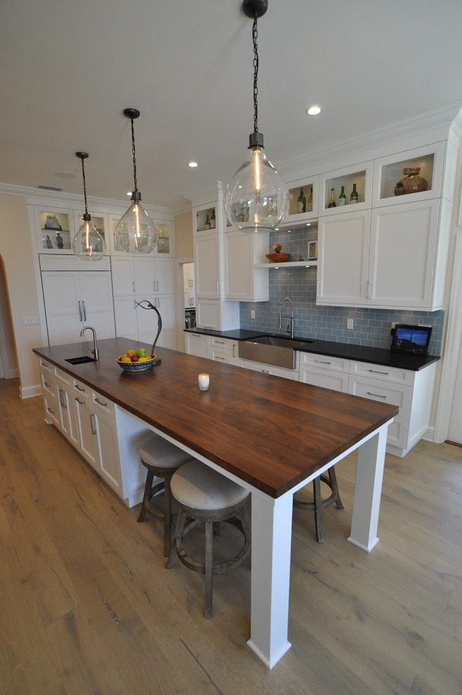 Blue Subway Tile Kitchen Eclectic with Tiles Contemporary Microwave Ovens