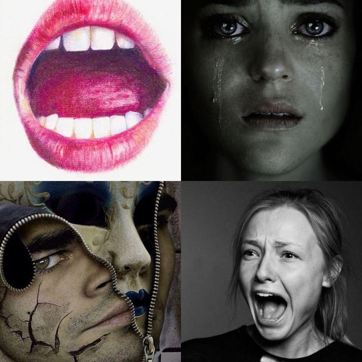 Dit zijn inspiratie bronnen van mij. De rits omdat ik ook een rist doe en dan  twee gezichten. Het onderste gezicht is een schreeuwend gezicht, daarom het schreeuwende meisje. Het bovenste gezicht huilt dat heb ik bij dat meisje die huilt bedacht.